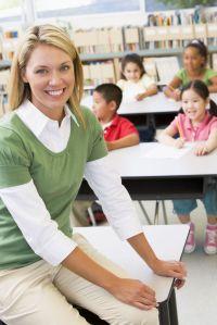 teacher at front of desks